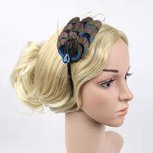 Handmade Design Fascinator Peacock Feather <strong>Headband</strong> With Crystal For Girls