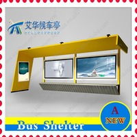 bus stop shelter with light box solar and scrolling system
