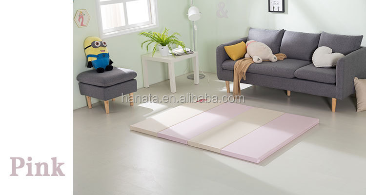 portable four-fold plain pu leather surface 4cm anti slip folding kid's play mat pe foam creeping mattress sleeping pad