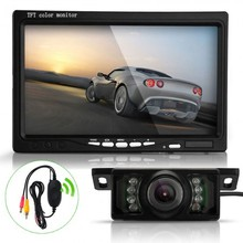 "7"" TFT LCD Car Rearview Reverse Monitor Wireless Transmitter 7 LED IR Camera Kit"