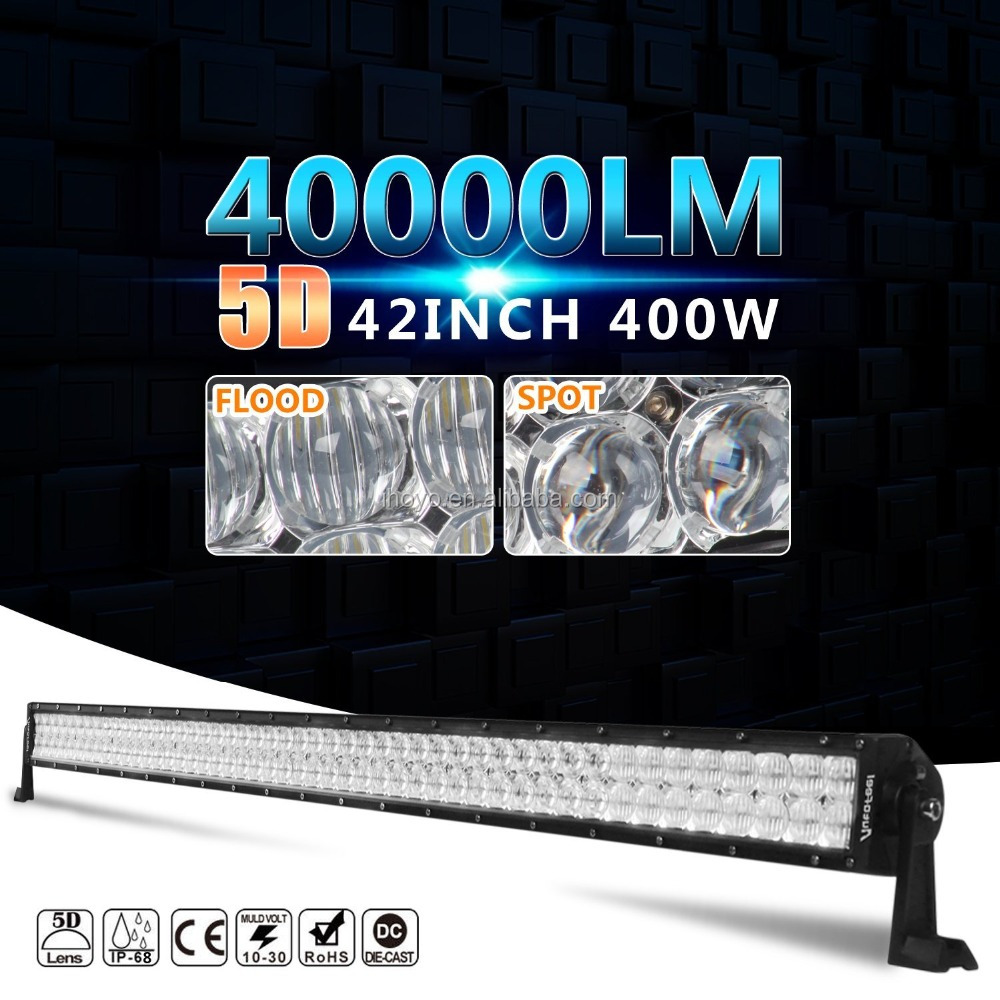 IHY CK-BC23003-5D 42inch 400w amber led light bar for Off-Road Jeep SUV UTE ATV Golf 4WD Truck Boat