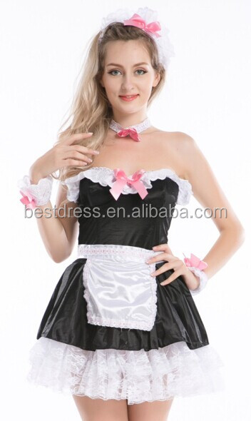 hot sales sexy French strip down maid Costume