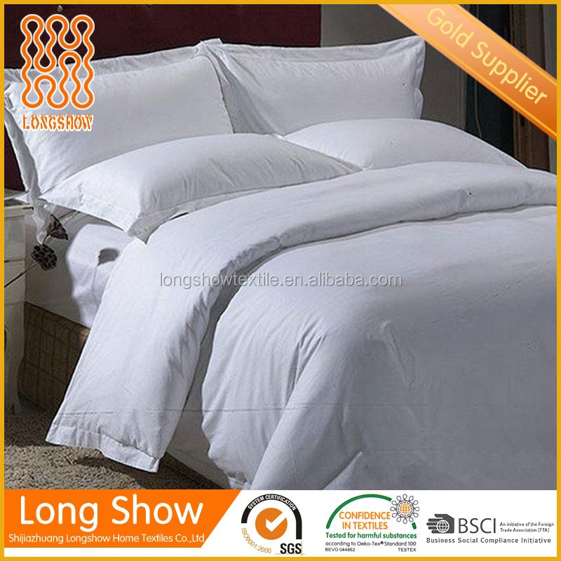 5 star hotel white fabrics bed sheet set with high quality