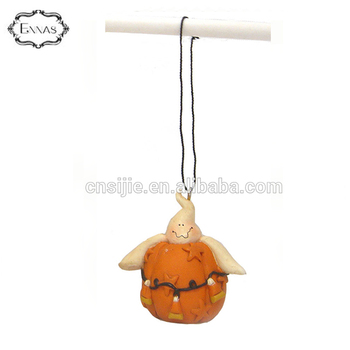 Resin halloween decoration of ghost wiht pumpkin ornament