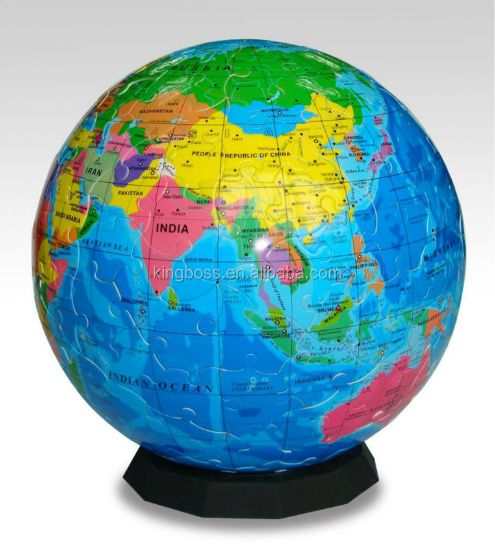 Educational 4D Plastic Globe Puzzle Jigsaw Puzzle For Kids Toy