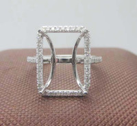 Emerald Cut 10x14mm 0.248ct Diamond 14K Solid White Gold Semi Mount Ring Setting
