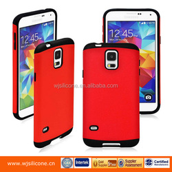 Dual Layer PC+Silicone Factory Cell Phone Plastic Case For Samsung Galaxy S5