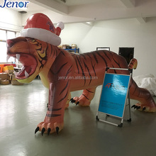 Newest Advertising Vivid Inflatable Tiger Mascot Cartoon with Hat for Decoration