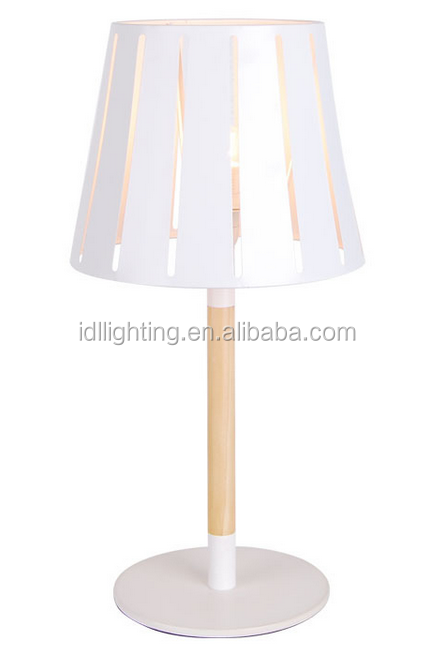 modern iron material lamp shade wood base table lamp white table desk lamp