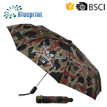 High quality windproof 3 folding promotional skull designed auto open&close umbrella