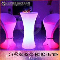 2015 Multi Color Rechargeable LED Bar Stools and Round Table LED Plastic Table & Chairs for Bar Nightclub Coffee Shop China-made