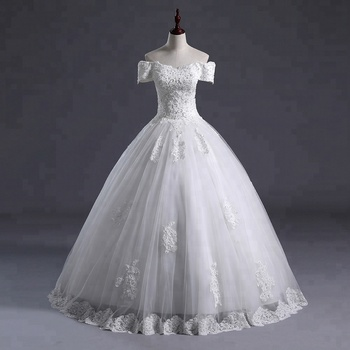 2018 Wholesale  Women shoulder off ball gown Wedding Dress Bridal Gown Floor length  Applique Tulle Dresses cheap wedding gowns