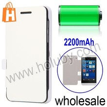 White 2200mAh Side Flip External Leather Battery Case for BlackBerry Z10