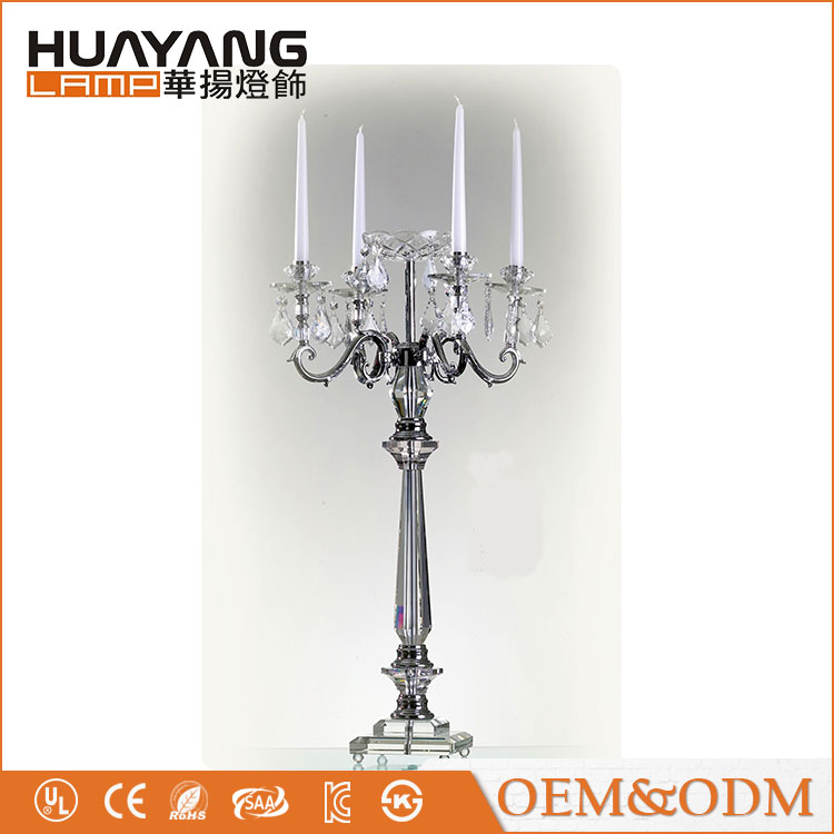 Hot selling with 4 arms crystal candelabra tall wedding crystal candle holder