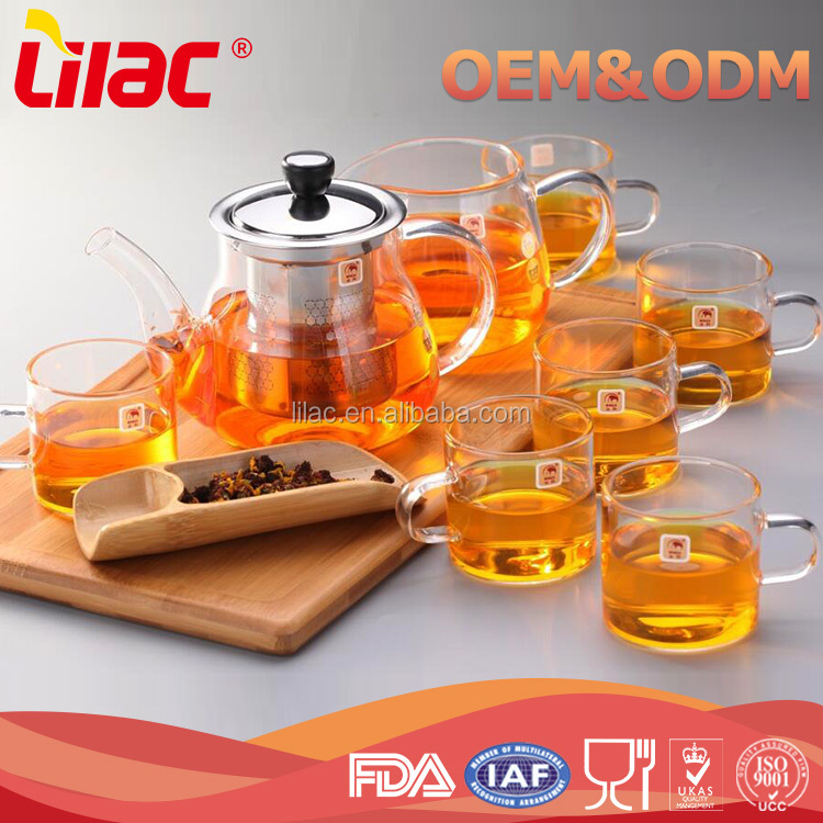 Wholesale Custom Heat-Resistant High bolosilicate pyrex glass tea pot set