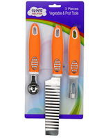 JK11647WA 3-piece Fruit and Vegetable Gadgets with Soft Touch Handle Packed in Blister Carded