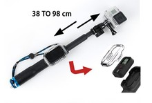 Gopros Telescopic hand monopod with remote control box For Gopros Heros 4 3+/3/2/1
