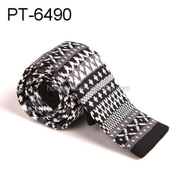 Polyester Knit Necktie mens neckwear black and white stripe pattern neck ties China manufactures pt6490