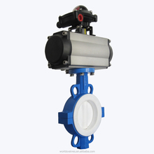 pneumatic wafer butterfly valve with PTFE liner