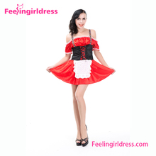 New Design Red Sexy Oktoberfest Dirndl Dress German Beer Maid Costume