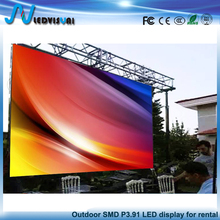 Outdoor full color SMD3in1 p3.91 die-casting Aluminum cabinet movie rental led display/stage led screen