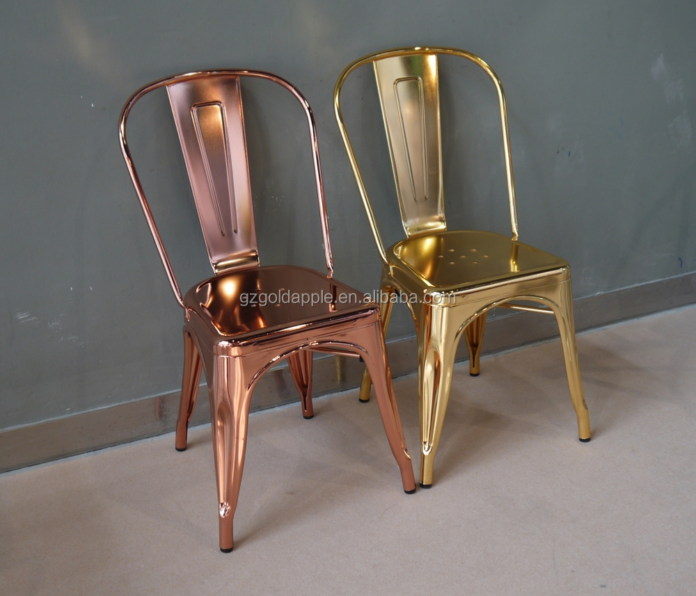 Steel Chairs Product : Wholesale cheap steel industrial gold chair luxury metal