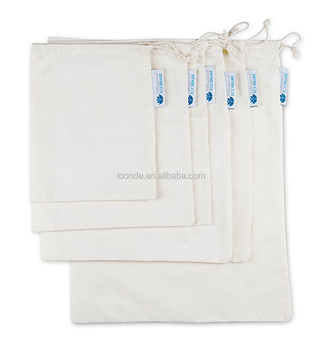 Natural cotton fruit vegetable bags for grocery shopping and storage organisation