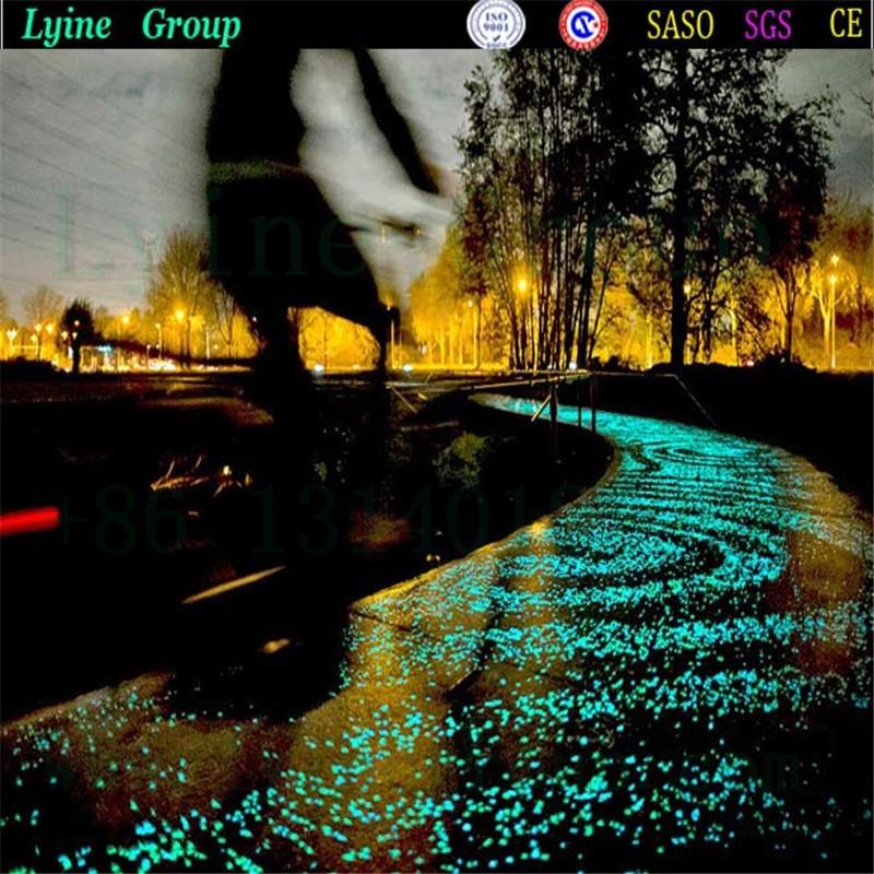 Man-made Green Glow Pebbles Stone Luminous Decorative Stones for Garden Walkway or Fountain Aquarium