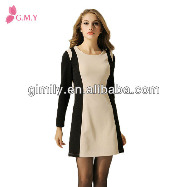 ladies casual design two color short dress women winter 2016