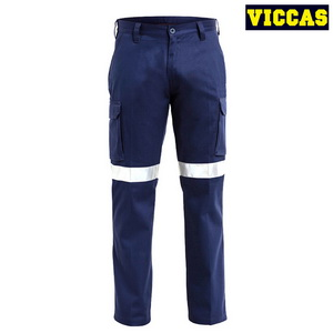 Men's Navy Blue Reflective Tape Safety Cargo Work Pants