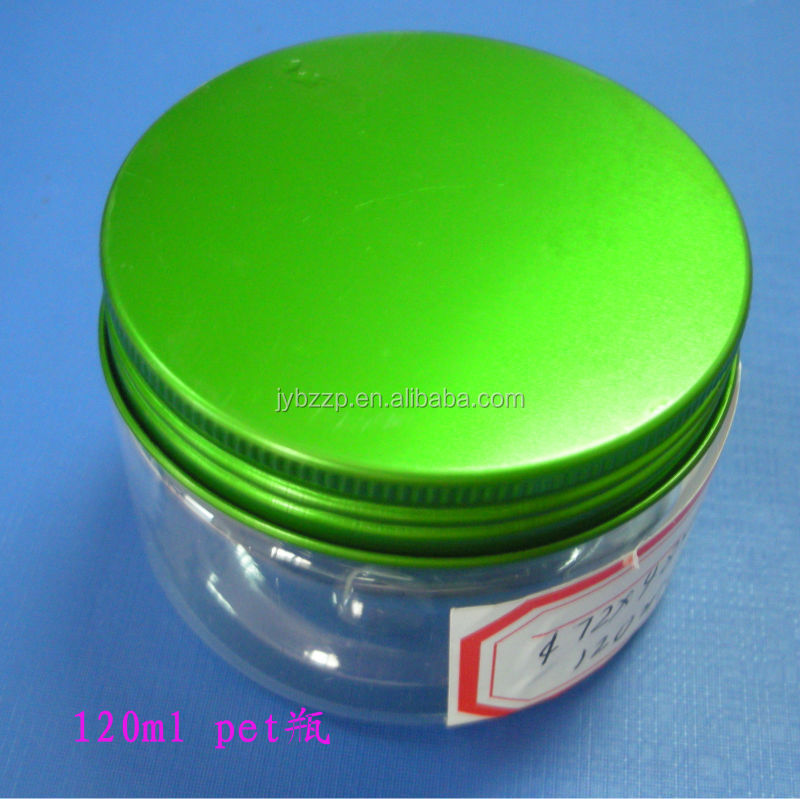 transparent plastic PET can, aluminum screw cover,PET jar for food