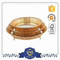3 Size Metal gold plated food serving tray for wedding