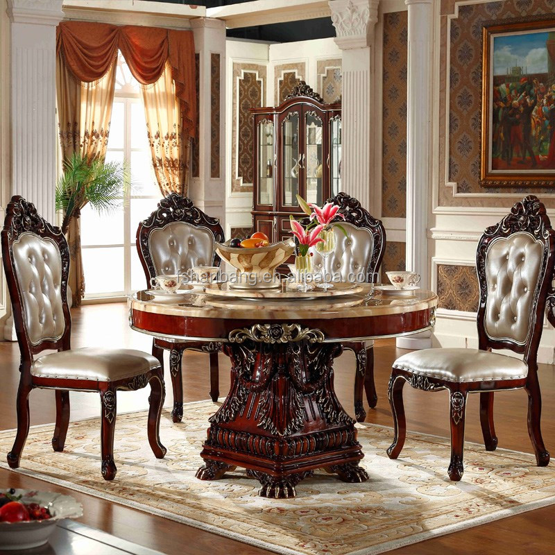 China Cheap Baroque White Marble Top Dining Table Set