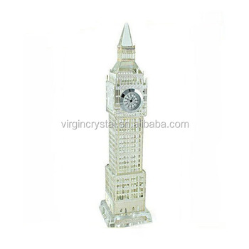 Noble Crystal glass 3d models famous Big Ben clock for souvenir