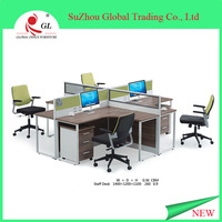 Eco-friendly good material, hot sale modern Melamine free combined type 4 Seat Office partition Workstation table/desk