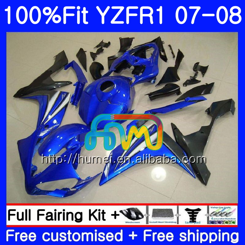 Injection Bodys For YAMAHA blue blue YZF 1000 R 1 YZF <strong>R1</strong> 07 <strong>08</strong> 90HM16 YZF1000 YZFR1 07 <strong>08</strong> YZF-1000 YZF-<strong>R1</strong> 2007 2008 <strong>Fairing</strong>