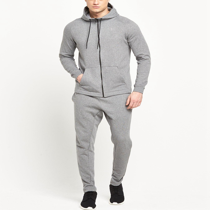 High Quality Mens Grey Blank Fleece Tracksuit Wholesale