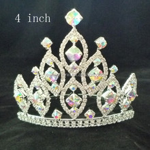 fashion metal silver plating ab crystal tiaras rhinestone pageant crowns 4 inch