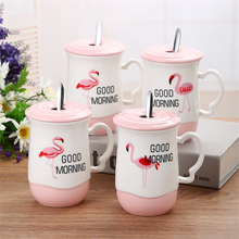 novelty goods from china assorted colors flamingo white ceramic coffee cup wholesale