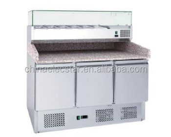 pizza table with glass lid, stainless steel refrigeration counter , restaurant kitchen equipment