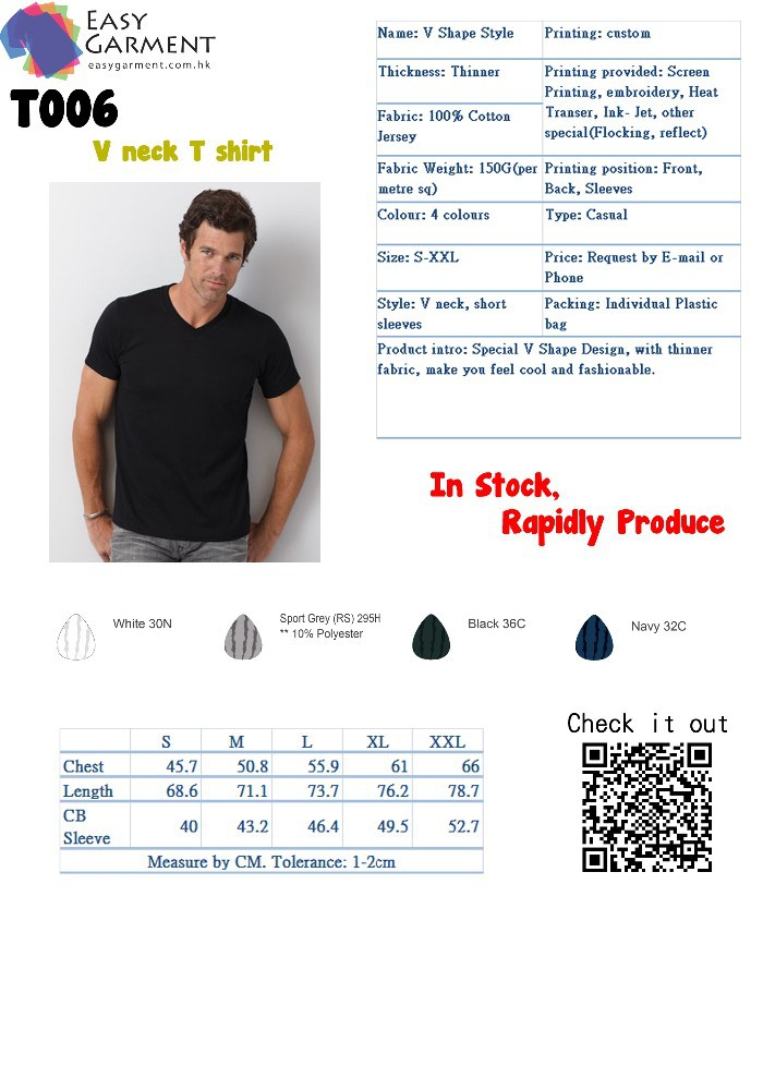 Custom Fashionable V neck T-Shirt
