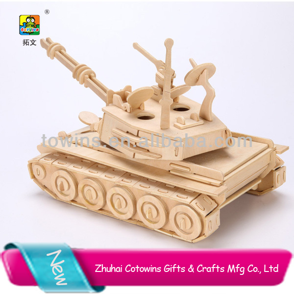 Top sale tank model 3D puzzle wooden craft toys for kids