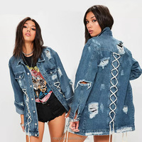 L2695A Wholesale clothing women's coat fashion winter jacket long sleeve woman ripped denim jacket