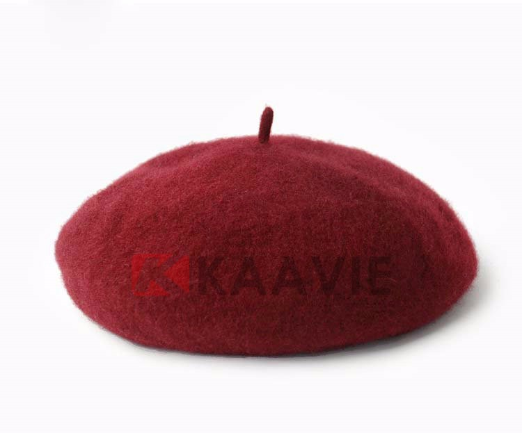 2015 new design warm winter solid color wool felt beret caps for women