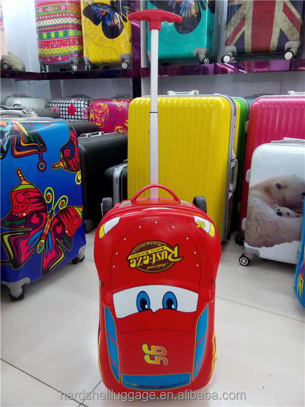 Hot selling car shape scooter abs+pc kids luggage trolley school bag