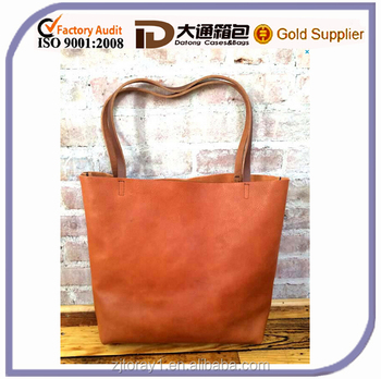 2015 Brown Market Travel Shoulder Leather Tote Bag