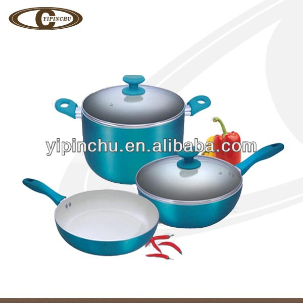 Multi colored enamel cookware