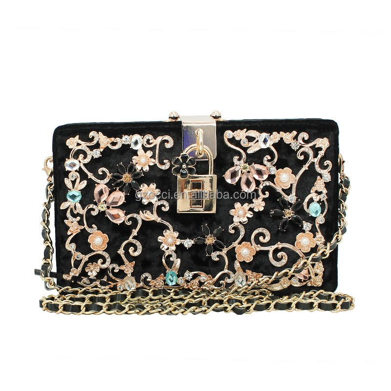 OCCI brand Marble vein shining metal buckle ladies vintage clutch bags SC2366