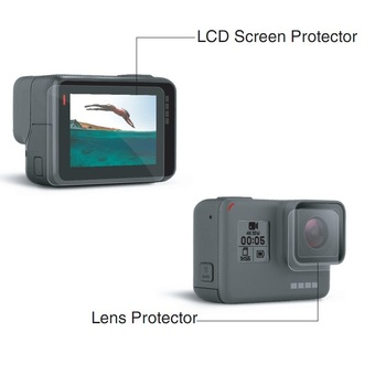 gopros 5 camera LCD screen protective film + camera lens protective film, dry wet wipe mirror paper suits