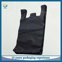 Custom 100% virgin HDPE vest carrier black plastic t shirt garbage bag